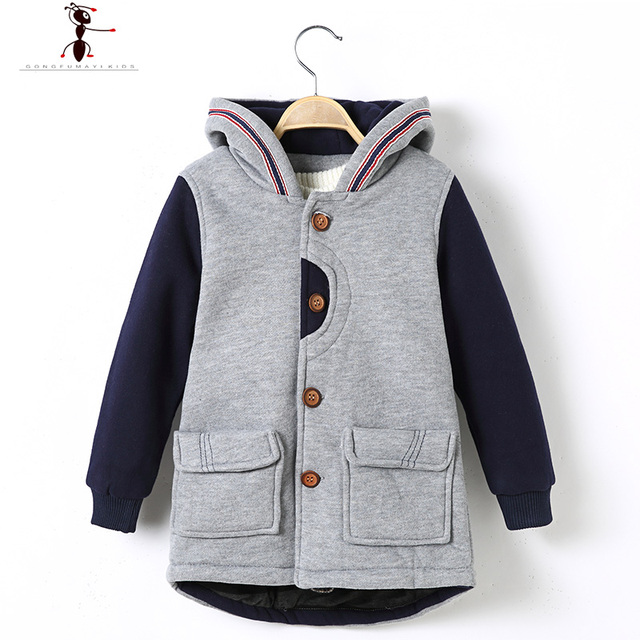 Boys Woolen Fashion Winter Hooded Fashion Patchwork Children Manteau Giacca Bambino Inverno Casacos 1640