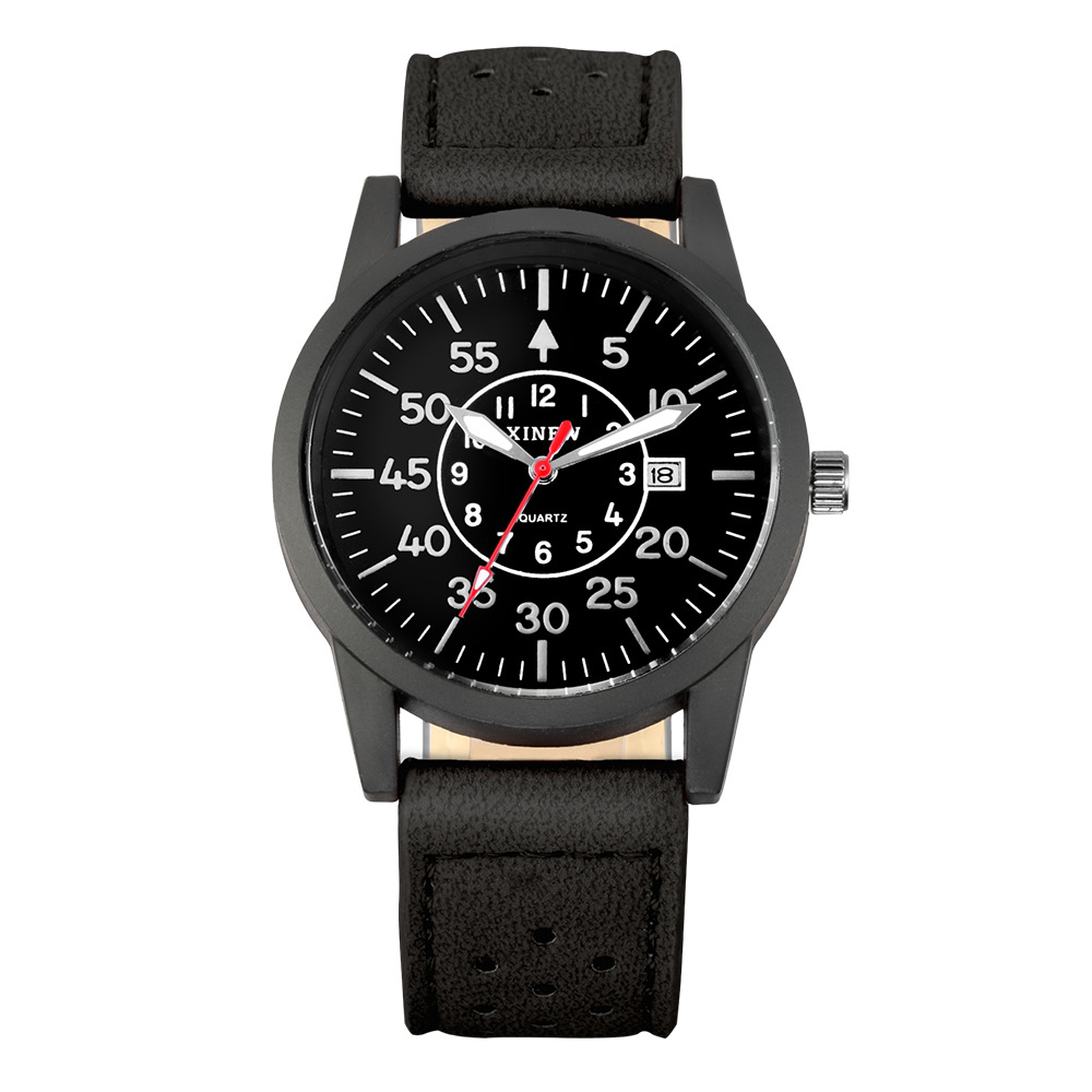 Men's Chronograph Watch Black Dial Leather Strap Sport ... |Wrist Watch For Men Leather