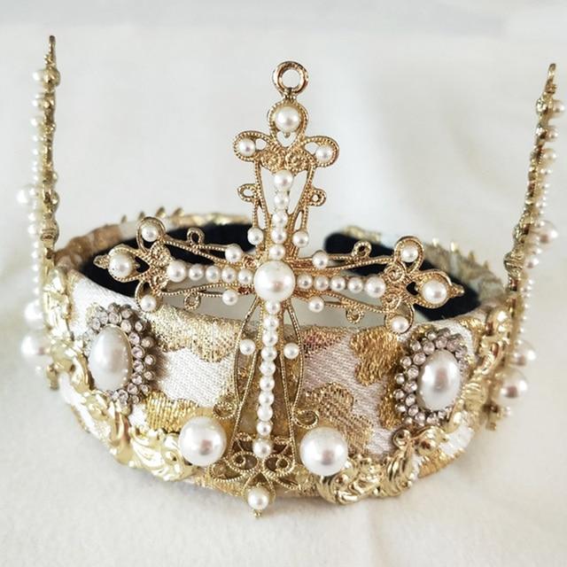 Купить женская винтажная тиара в стиле барокко золотистая круглая корона