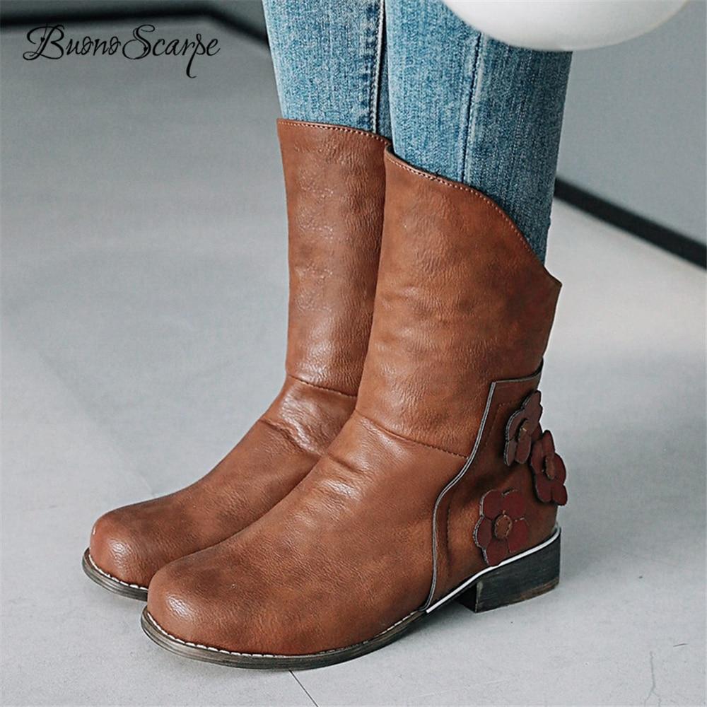 BuonoScarpe Women Short Western Boots Retro Flower Slip On Ankle Boots Winter Plush In Girls Casual