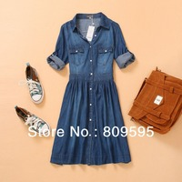 Free Shipping Fashion Summer Slim Jeans Denim Dress Women S Thin Denim Dress XXL XXXL 4XL