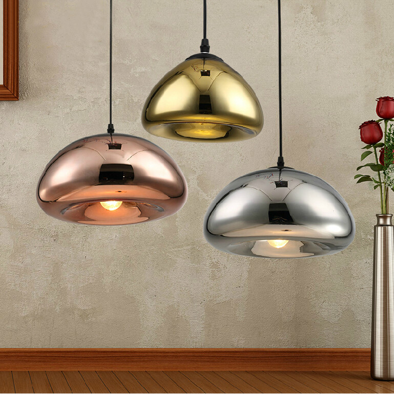 Fashion bread bun restaurant brass plating glass bowl restaurant cafe bar counter to restore ancient ways small pendant