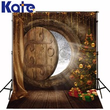 photography backdrops christmas The Christmas tree gift log door 5x7ft(1.5×2.2m) photography studio ZJ