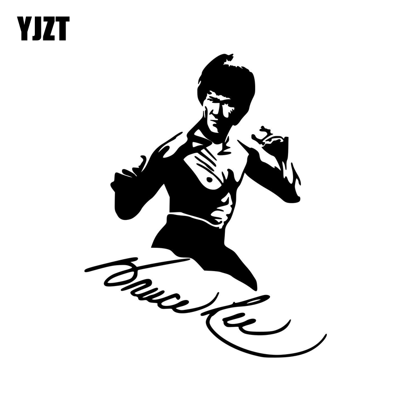 YJZT 11.1CM*13.9CM Vinyl Decal Kung Fu Actor Bruce Lee Car Sticker Black/Silver C3-0049