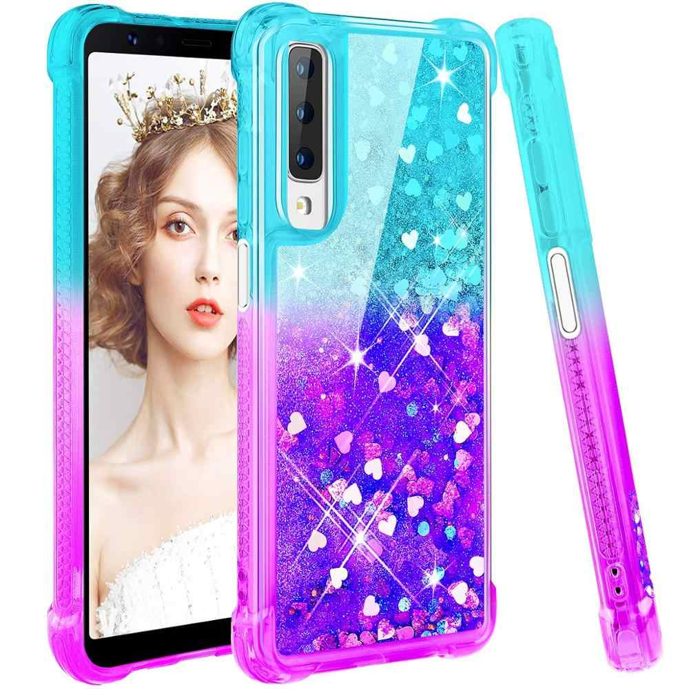 Case For Samsung Galaxy A7 2018 Cover Gradient Quicksand Glitter Soft Silicone Case for Samsung Galaxy A9 2018 A9s A9 Star Pro