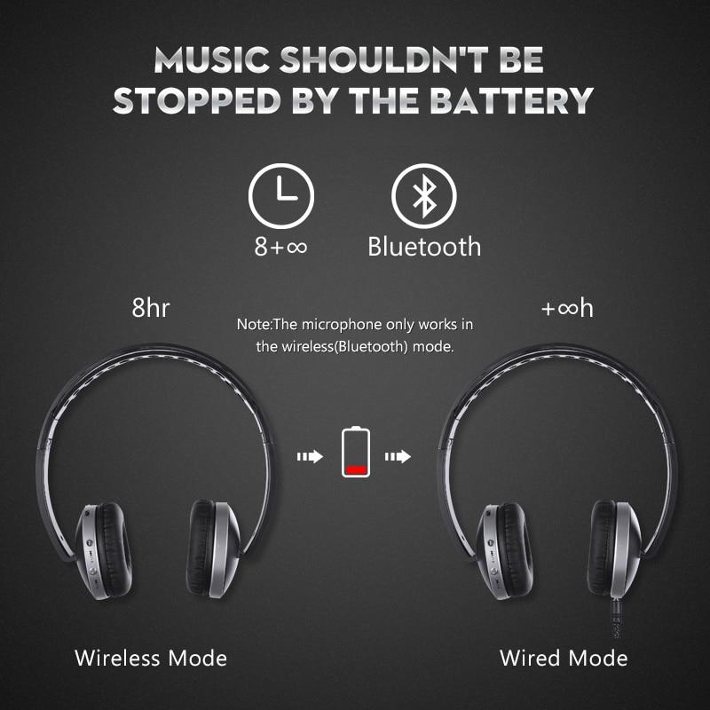 Hisonic Trådløse Hovedtelefoner Bluetooth Headset Stereo Foldbare - Bærbar lyd og video - Foto 3