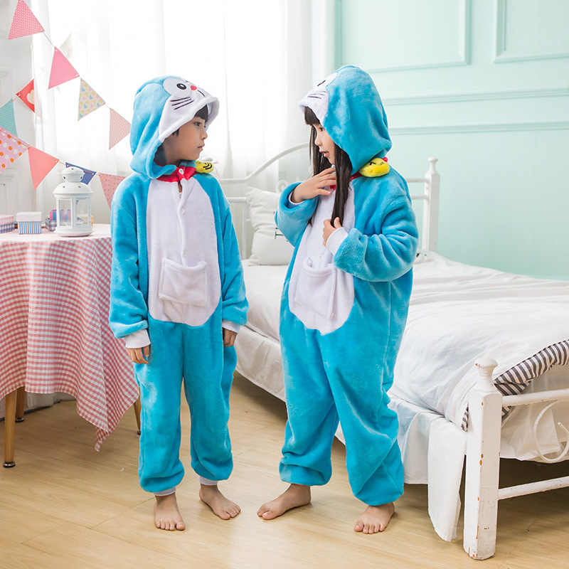 כחול דורימון סרבל תינוקות פיג 'מה Kigurumi בעלי החיים Cosplay תלבושות ליל כל הקדושים משפחת פיג' מות נשים