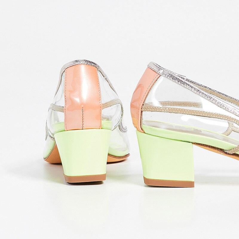 Bombas 002 Simple Verde Transparente Pvc Color Bloque Claro Moda De Azul Zapatos Fiesta Cuadrados Caramelo Discoteca Verano 001 Mujer Altos Tacones SwXnAxn