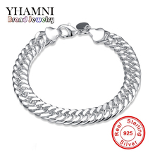 YHAMNI Top Quality Classy 10mm Charm Whip Rope Silver Bangles For Women Men Fashion Unisex Jewelry H102