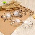 Retro Oro Monturas De Gafas Hombres Vidrios Ópticos Gafas Graduadas Gafas de Lente Transparente Gafas de Marco Cuadrado de Metal de Corea