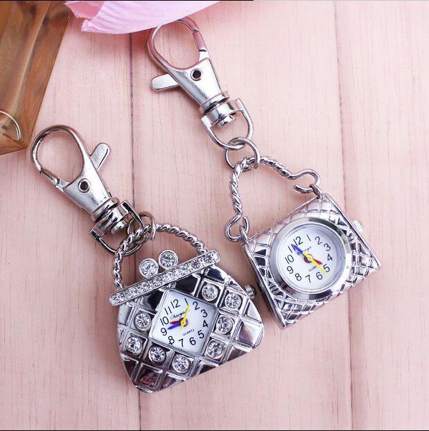 hot sales Top quality Antique bronze handbag Pendant pocket watches key chain women's jewelry gift 1pcs/lot