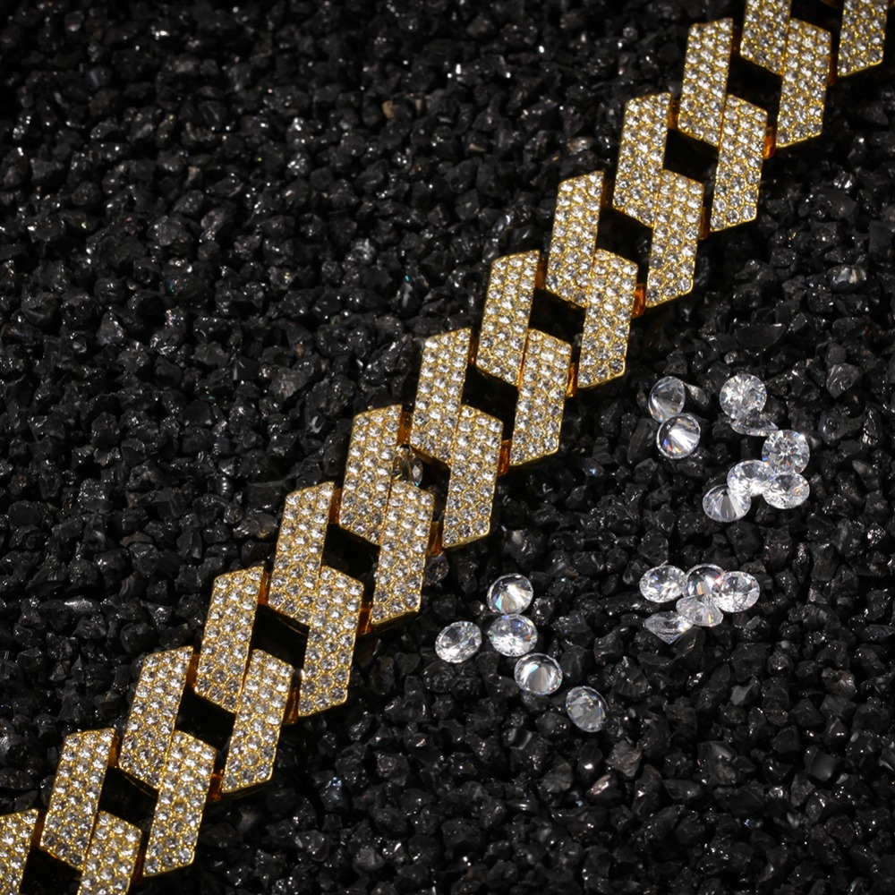 New Color 20mm Prong Cuban Link Chains Necklace Fashion Hiphop Jewelry 3 Row Rhinestones Iced Out Necklaces For Men