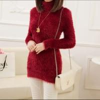 Autumn Winter Retro Lady Mohair Sweater Women Long Sleeve Turtleneck Collar Ladies Pullover Sweaters Slim Warm