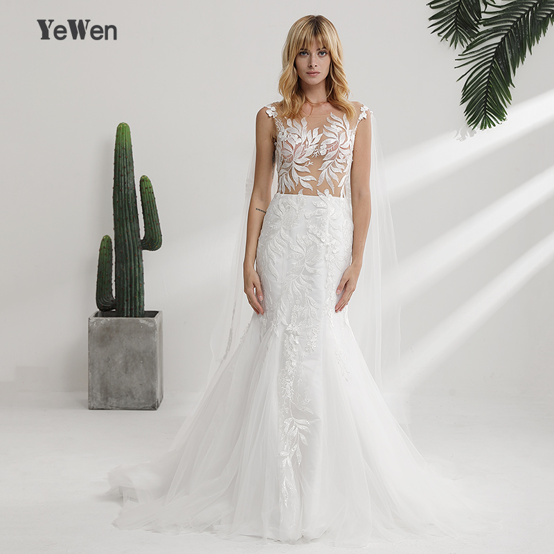 Lace Mermaid Champagne and Ivory Wedding Dresses 2018 removeable ...