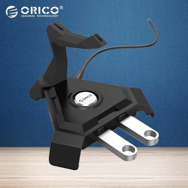 ORICO LH4CS Ratón Cable de Gestión de 4 Puertos USB3.0 HUB con 5V2. 4A Cargador DC12V2A Enchufe de LA UE