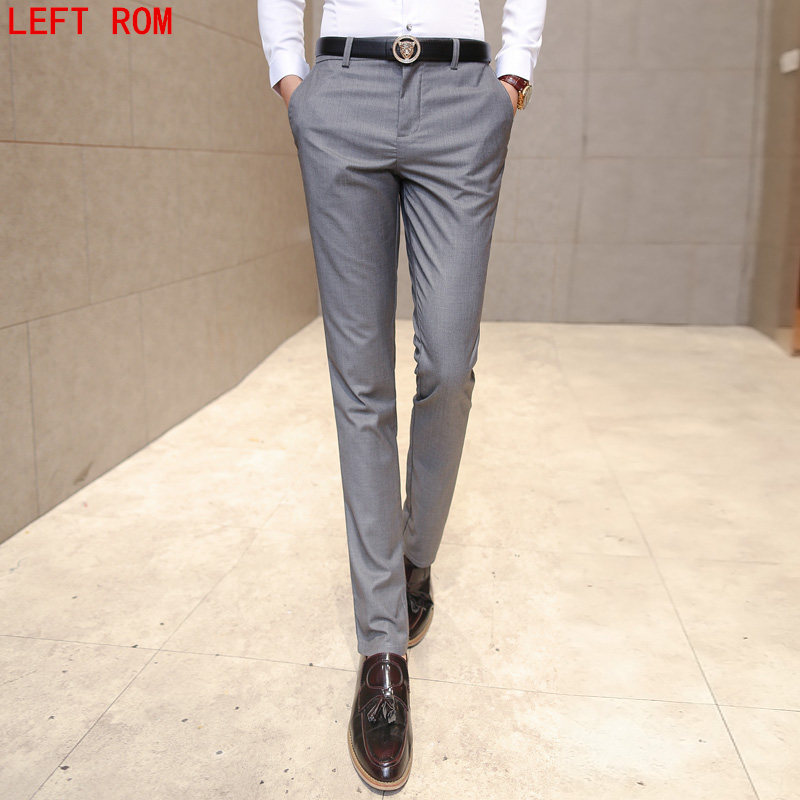 Men Pants 2017 New Spring Autumn Fashion Slim Fit Suits pants men Sundries Business Young people Small Straight Trousers Casual