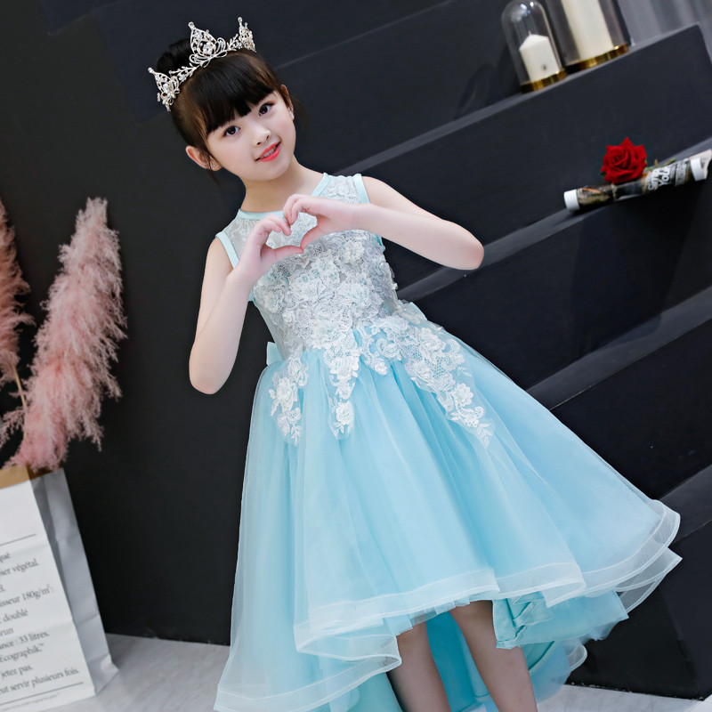 2018 Summer New Children Kids Birthday Wedding Holiday Party High Quality Princess Lace Tail Dress Model Catwalk Pageant Dress new high quality children girls blue princess lace party dress wedding birthday dress with layers mesh tail kids costume dress