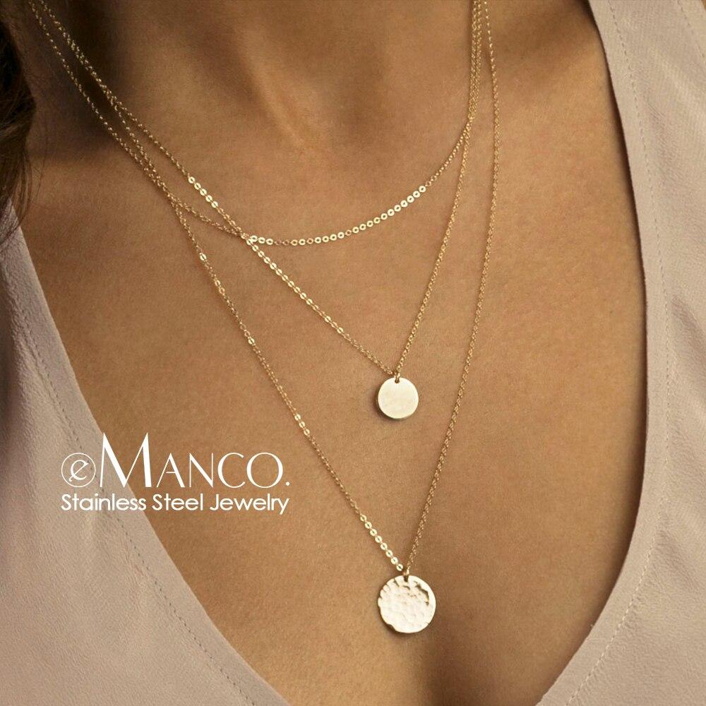 EManco 3 шт раздельное многослойное ожерелье из нержавеющей стали женский кулон и колье и цепочка ожерелье набор модные ювелирные изделия|Колье|   | АлиЭкспресс