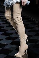 2017 Printemps De Mode Élastique Suede En Cuir Sur Le Genou Bottes Sexy Bout pointu Slim Fit Dames À Talons Hauts Bottes Femmes Cuissardes