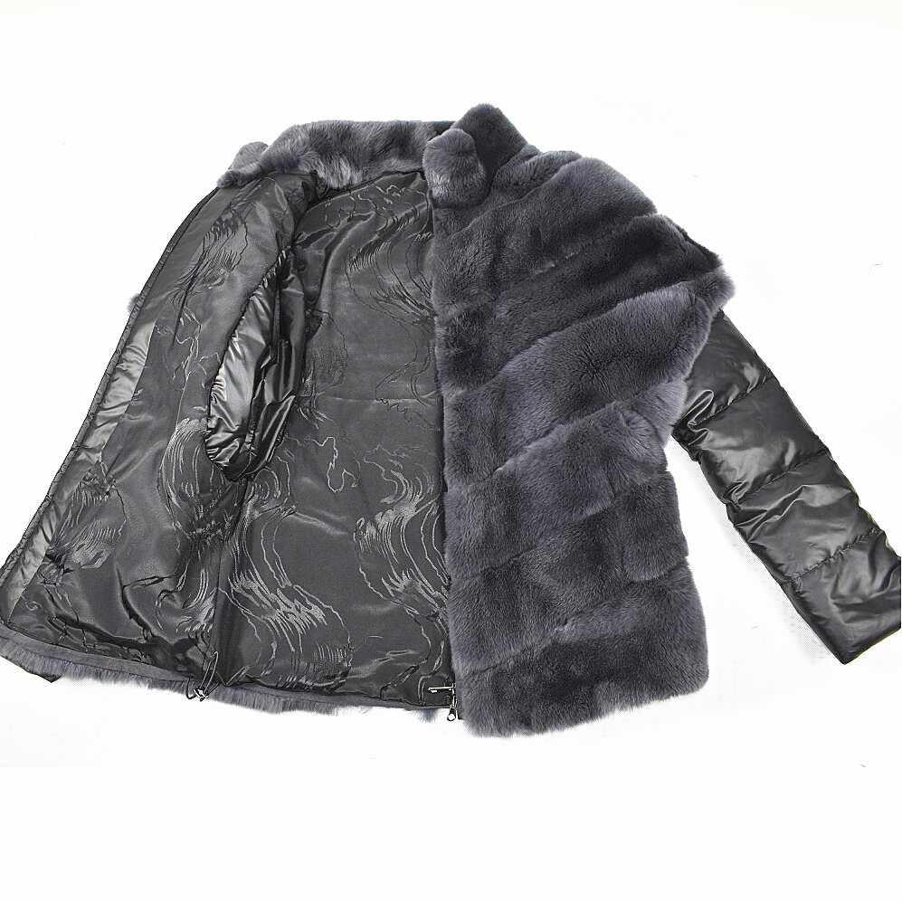 2018 женская новая шуба из натурального кролика с пуховыми рукавами съемный Настоящий мех кролика летучая мышь куртка осенняя и зимняя теплая