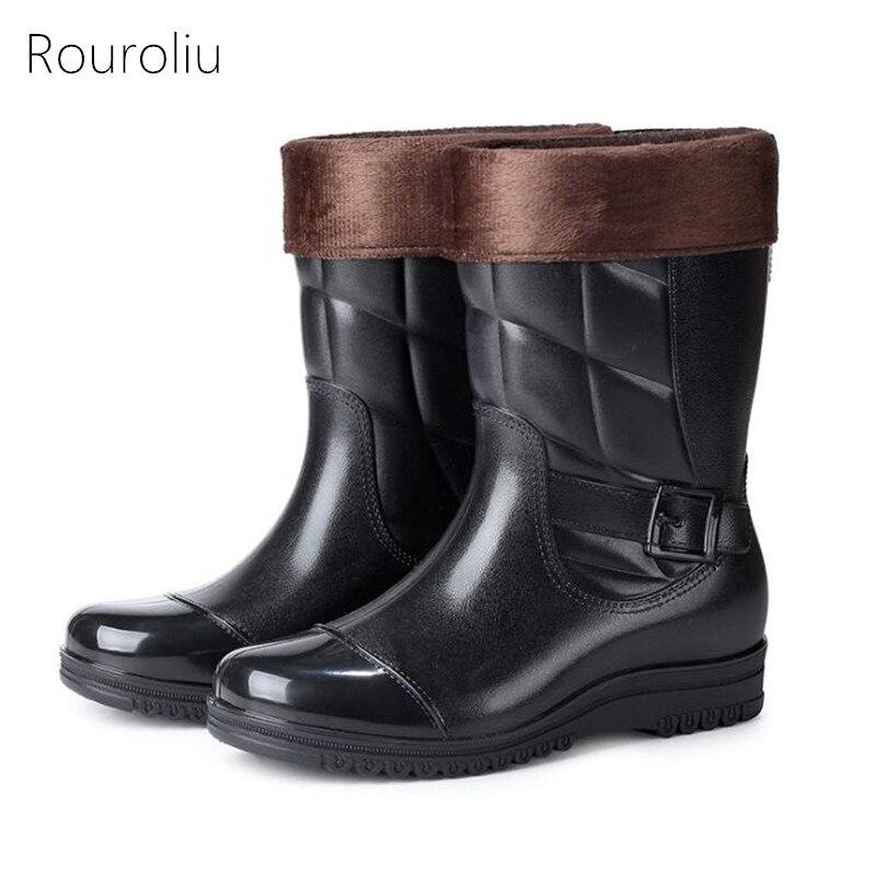 Rouroliu New Men Winter Warm Removable Lining Rain Boots Non-slip Kitchen Work Boots Mid-calf Waterproof Water Shoes    FR12