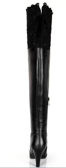 En Bottes D'hiver Bout Au 33 Noir Femmes Plus Sxq1007 Mince Taille Les Sur marron Latérale La À De Talons Mode 45 Genou Cuir Rond Hauts Véritable Glissière xavqXCwv