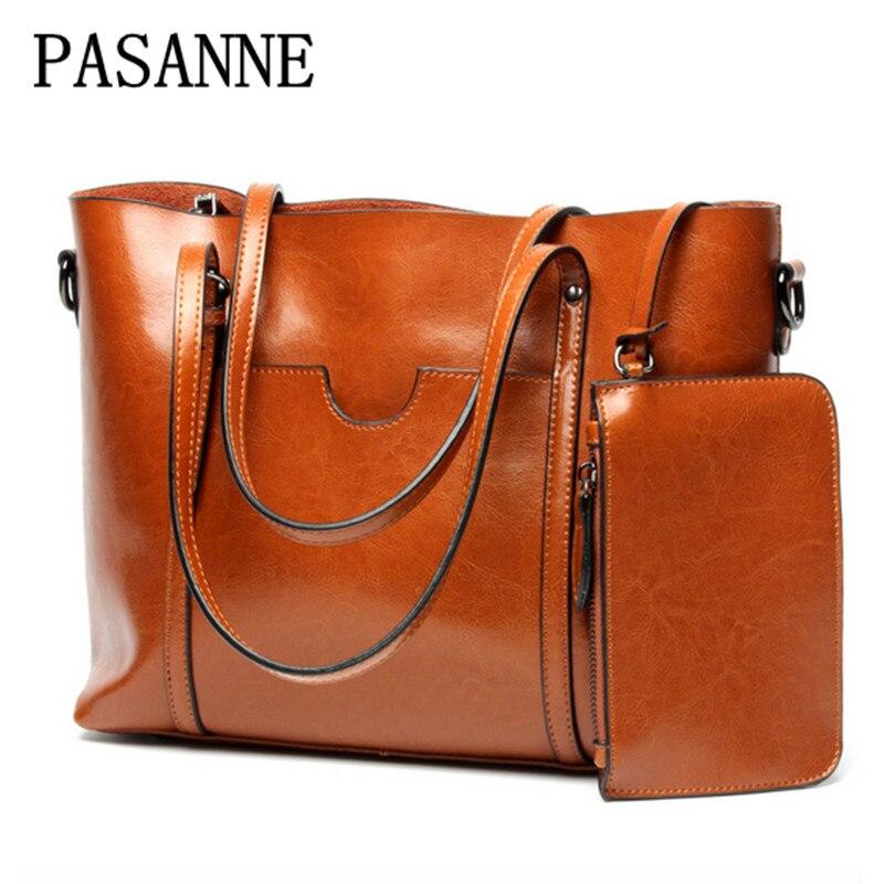New Women Bag Leather Handbag 2017 New PASANNE Brand Causal Genuine Leather Girl Female Handbags Woman Shoulder Bags