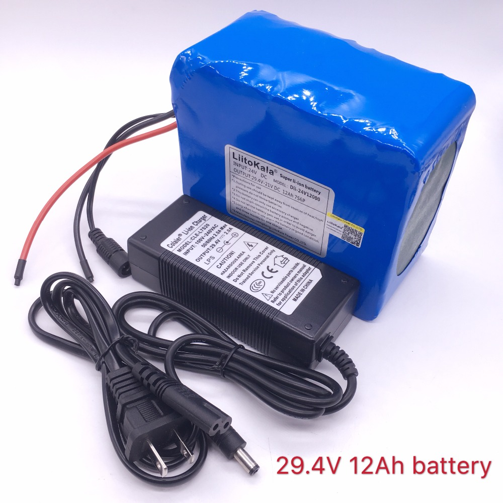 Liitokala 7s6p New victory 24V 12Ah lithium battery electric bicycle 18650/24 V (29.4V)Li ion battery +29.4v 2a charger