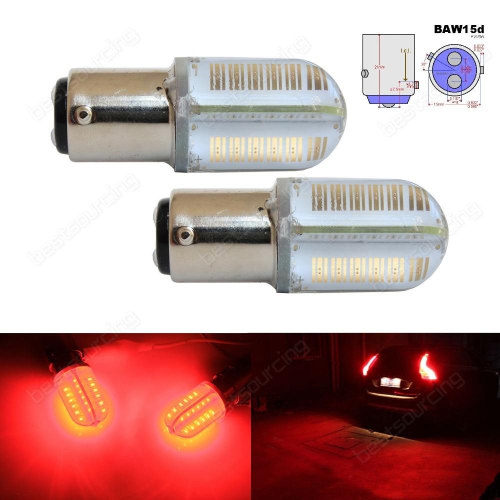 2x 567 PR21/5W BAW15d Red COB LED Bulbs Rear Tail Brake Stop Light Lamp 12V For Ford(CA320) 2x baw15d 567 pr21 5w bulbs samsung 15w led tail stop brake rear fog light red ca317