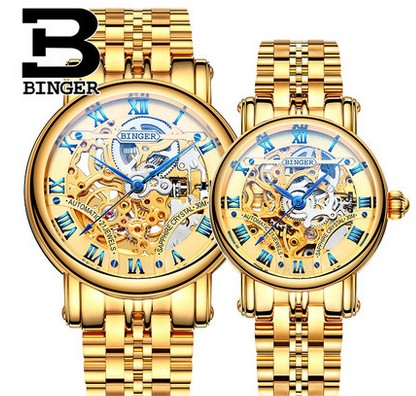 Genuine Luxury BINGER Brand Men Women automatic mechanical self-wind couple double-sided hollow waterproof male female watch orkina kc023 double sided hollow automatic mechanical men s wrist watch black silver coppery