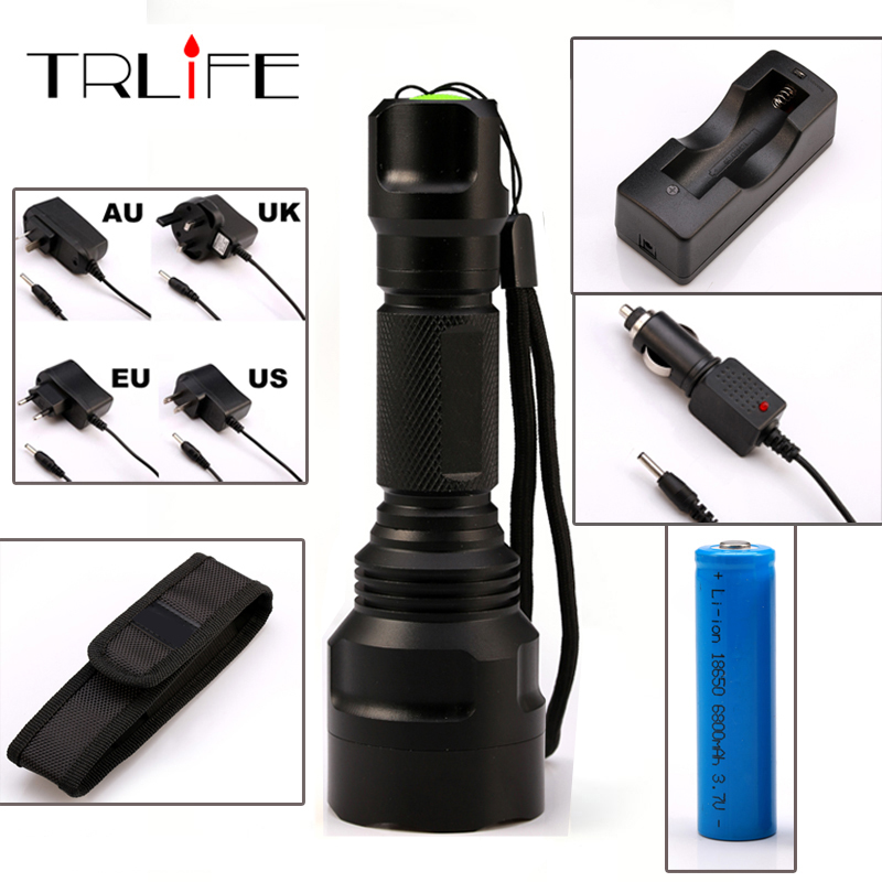 LED CREE C8 Flashlight 8000 lumens Torch XM-L2/T6 Tactical Flashlight Camping Light Lamp+Charger+1*18650 Battery+Holster led flashlight torch e17 cree xm l t6 3800 lumens high power focus lamp zoomable light with one battery charger and sleeve
