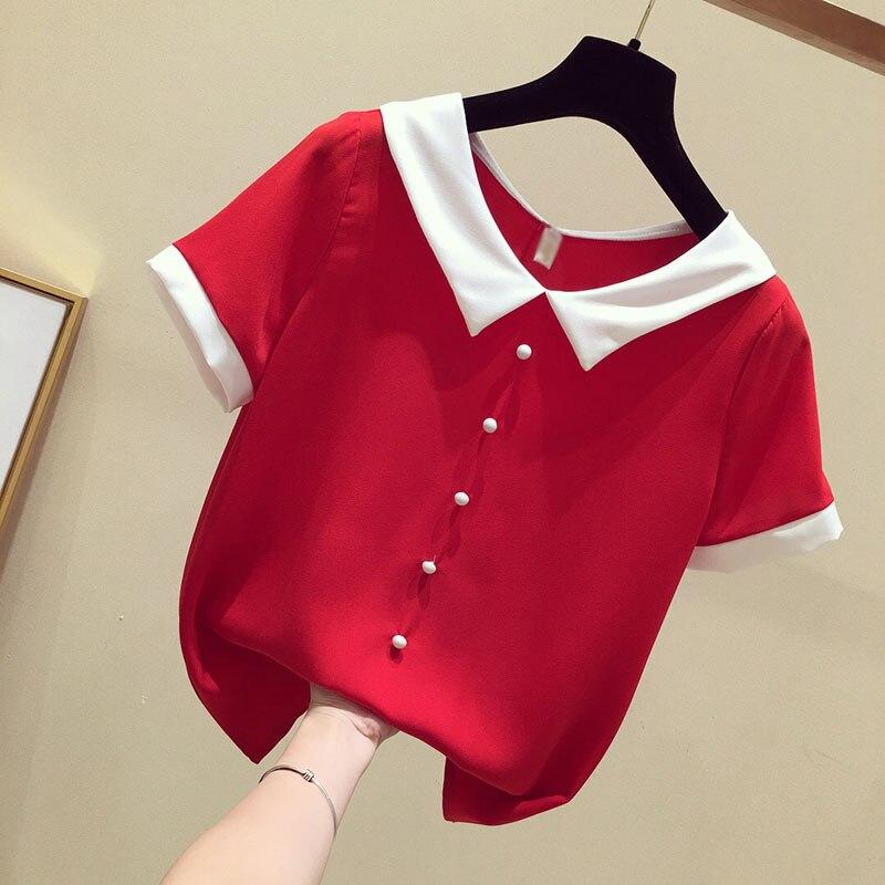 Women Spring Summer Cute Chiffon Blouses Shirts Lady Casual Peter