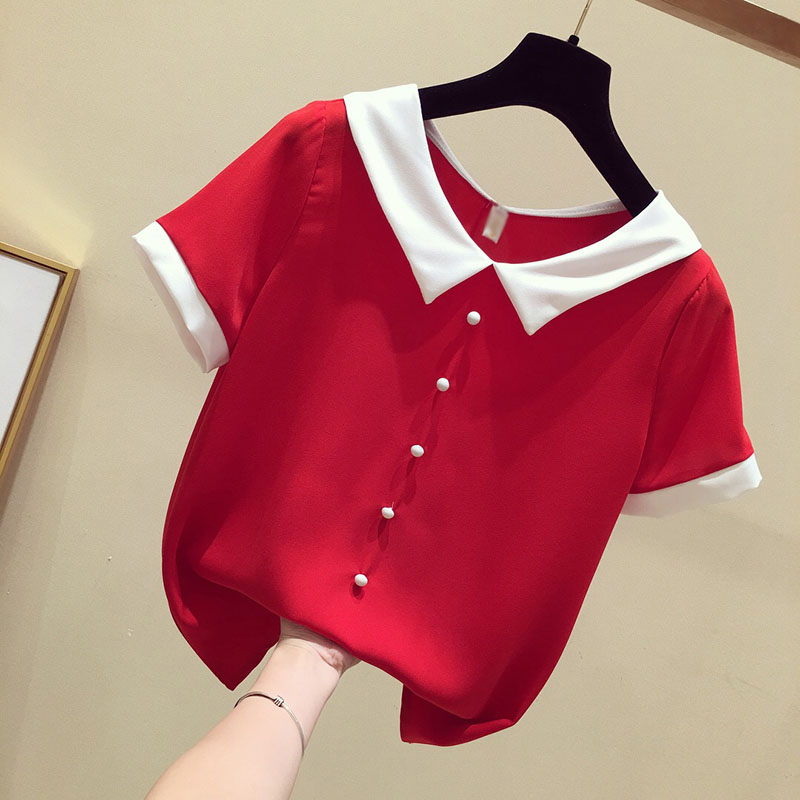 Women Spring Summer Cute Chiffon Blouses Shirts Lady Casual Peter pan Collar Short Sleeve Beading Blusas Tops DF1797