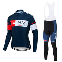 Spring autumn pro team IAM funds blue cycling kits jersey mens long sleeve cycling cloth MTB Cycling clothing Bicycle gel pad