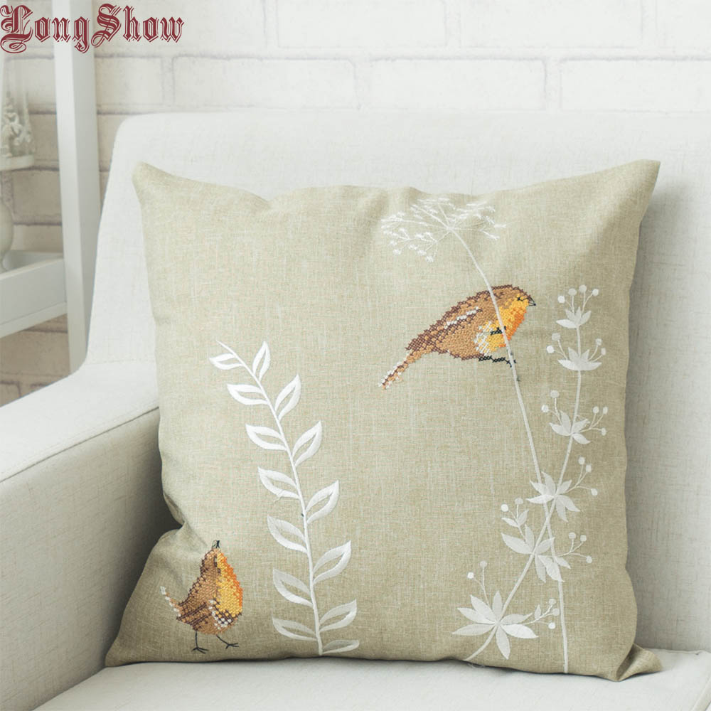 40x40cm Square Cute Cartoon Sparrow Deerlet Fox Cock Sunflowers Cross-Stitch Embroidered Pure Polyester Pillow Case