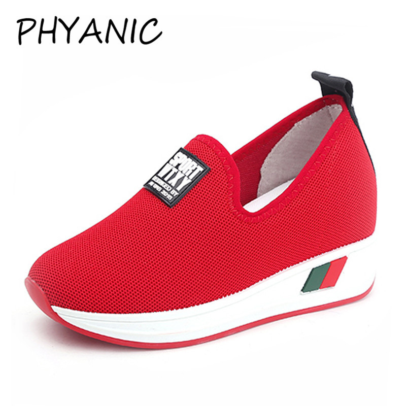 PHYANIC 2018 Spring New Women Casual Shoes Platform Wedge High heels 7cm Fashion Comfortable Shoes Women Sneakers CFY3195 phyanic platform gladiator sandals 2017 new casual wedge shoes woman summer women ankle boots side zipper party shoes phy5036