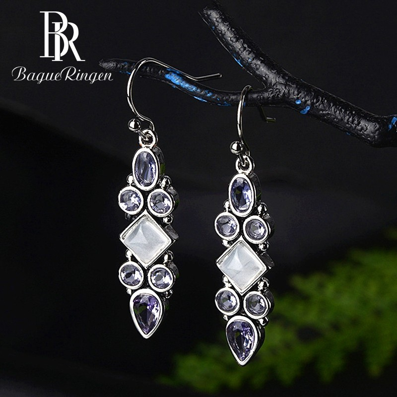 Begua Ringen Created Moonstone Amethyst Vintage Drop Earrings For Women Silver 925 Jewelry Earrings Wholesale Wedding Party Gift in Earrings from Jewelry Accessories