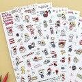 Corea papelería lindo de dibujos animados Caperucita Roja transparentes pegatinas diario adhesivos decorativos DIY juguete niño 6 hojas/sistema