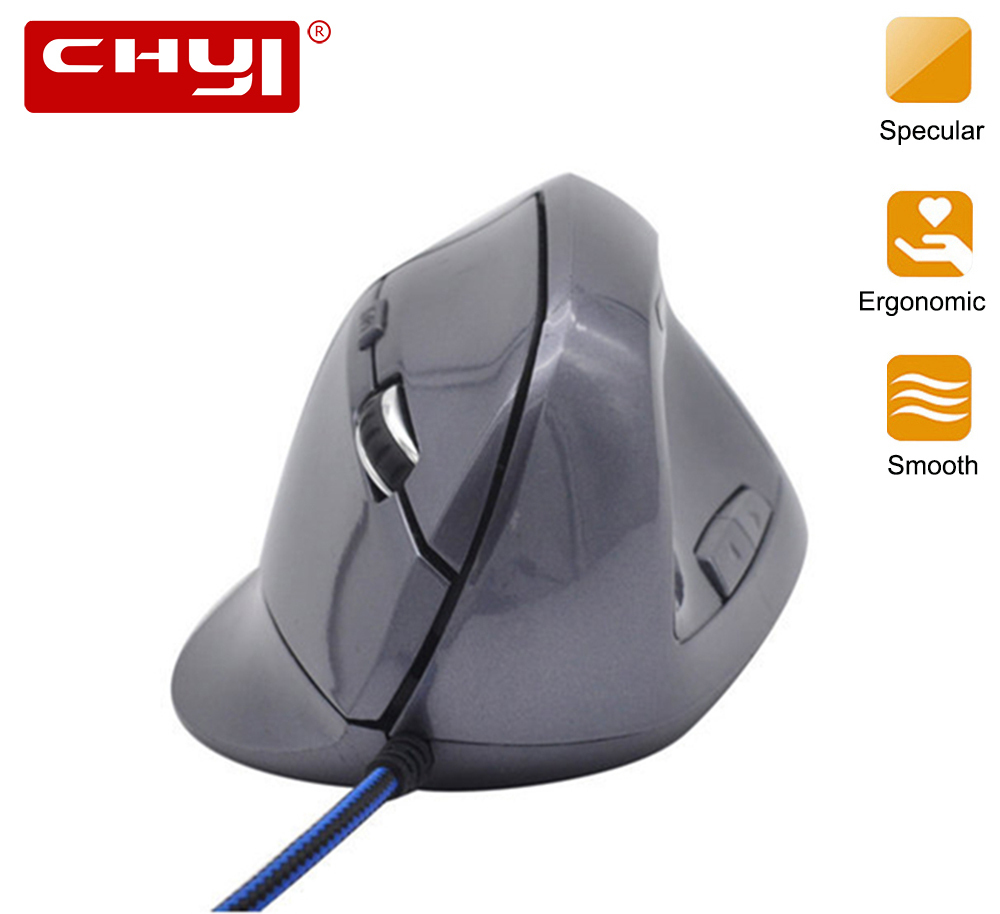 CHYI Wired Mouse Ergonomic Vertical 800-1000-1200-1600DPI 5 Keys USB Gaming Mice With Mouse Pad Kit Wrist Rest Mat For PC Laptop