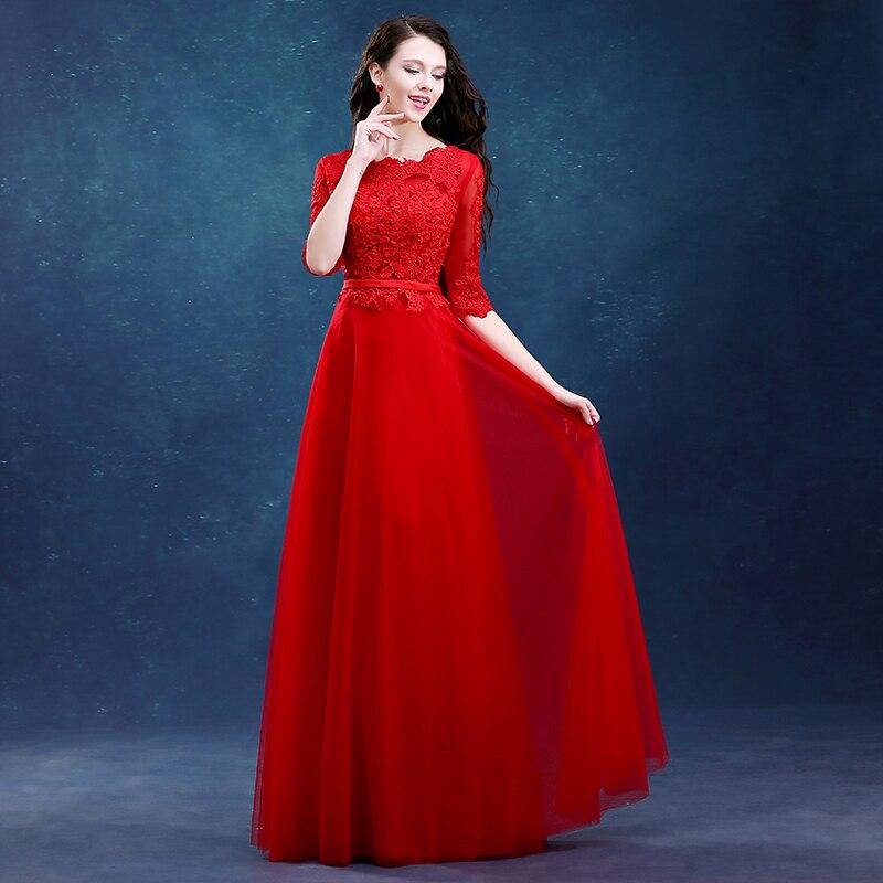 e3ba0b504 Drnwof Media Manga de dama de Honor Vestidos de Gasa de Las Mujeres Largas  Formal Nupcial Del Partido de Baile Rojo Rosa Vestido con Apliques Trasera  Ata ...