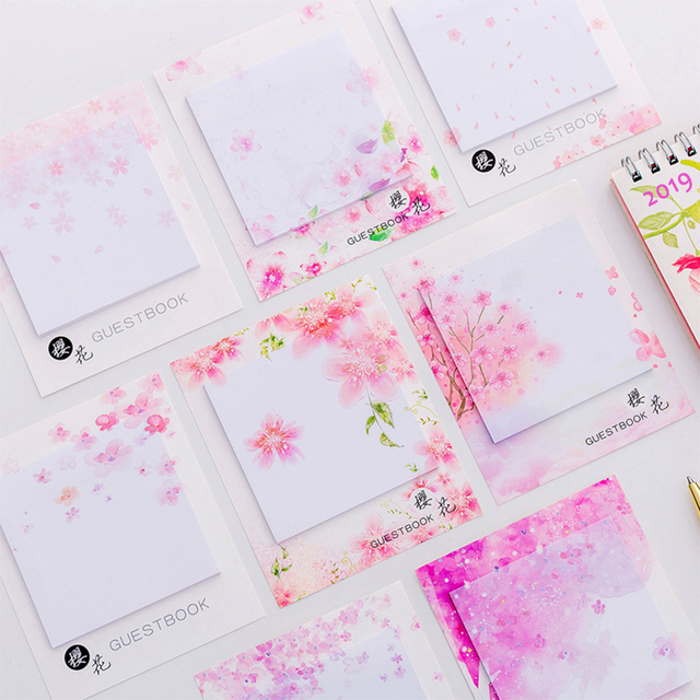 Cute Kawaii Cherry blossoms Memo Pad Sticky Notes Stationery Sticker Posted It Planner Stickers Notepads Office School Supplies 1