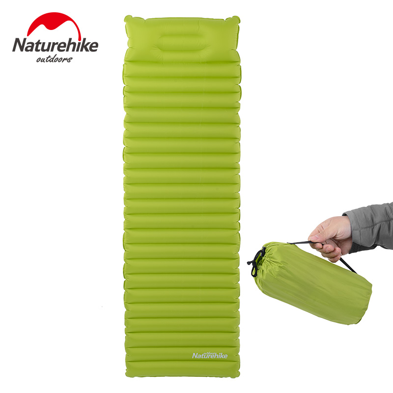 Naturehike innovative sleeping pad fast filling air bag super light inflatable mattress with pillow Waterproof folding mat naturehike sleeping pad fast filling air bag super light camping mat with pillow portable beach mat for rescue life cushion 550g