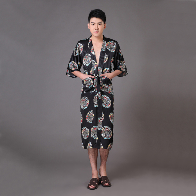 New Black Men's Faux Silk Kimono Bathrobe Gown Summer Casual Nightgown Chinese Dragon Sleepwear Size S M L XL XXL XXXL MR015