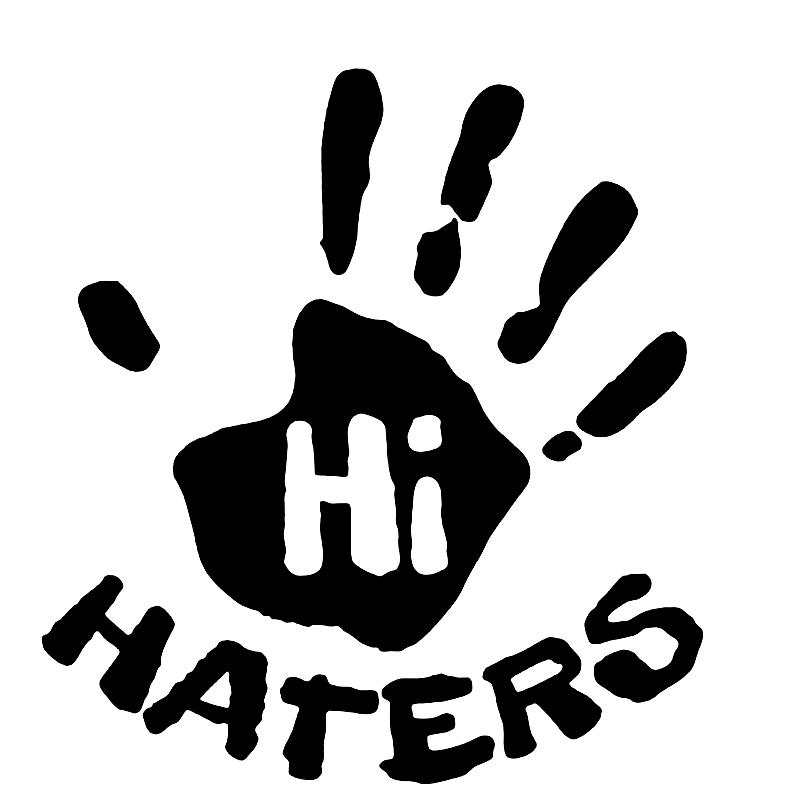 3/'/' or 5/'/' Hi Haters Hand Slogan Sticker Car Bumper Decal