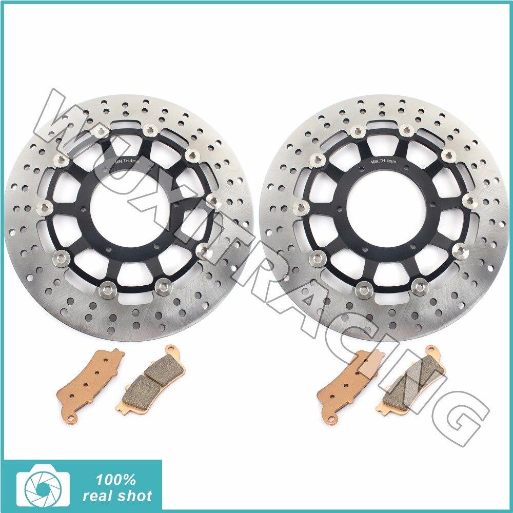 Pair Front Brake Discs Rotors Pads for Honda VTX 1800 R Cast Wheels 02-07 C C1 C2 C3 S Spoke Wheels F1 F2 F3 N1 N2 N3 T1 T2