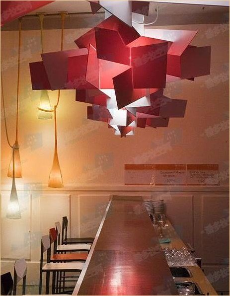 90cm New Contemporary Red Large Modern Bang Pendant Lamp Lighting Light Chandelier