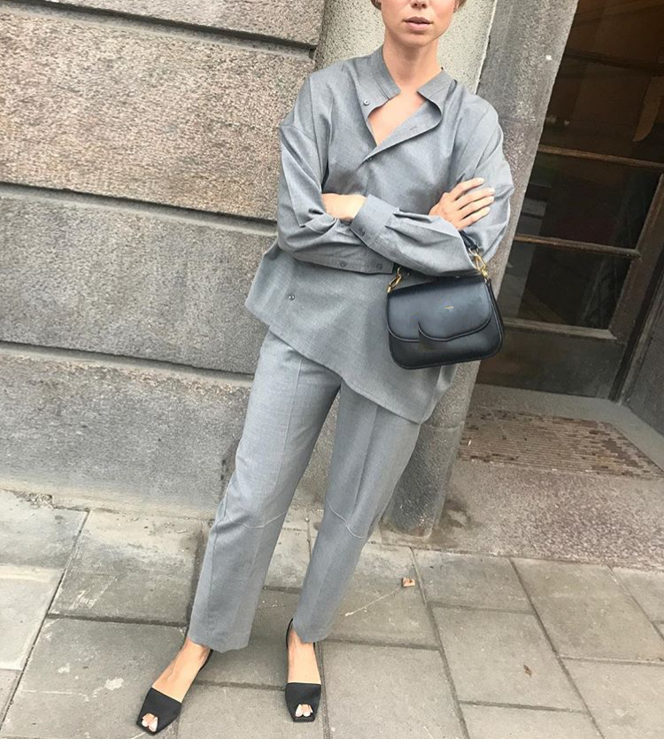 WISHBOP NEW Grey Noma Wool Suit Trousers Pants For Woman