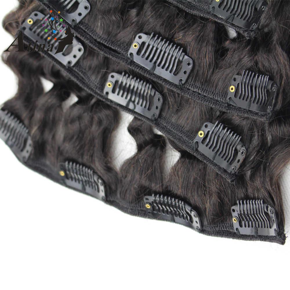 Атина зажим для волос в Пряди человеческих волос для наращивания курчавые переплетения американцев Клип ins на 7 шт./компл. 120 г в Комплект на всю голову