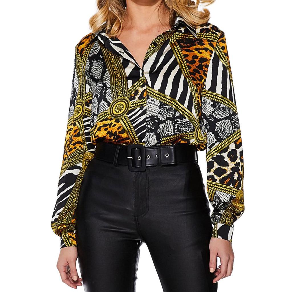 Womens Chain Print Long Sleeve Button Down Ladies OL Shirt Casual Blouse Tops US