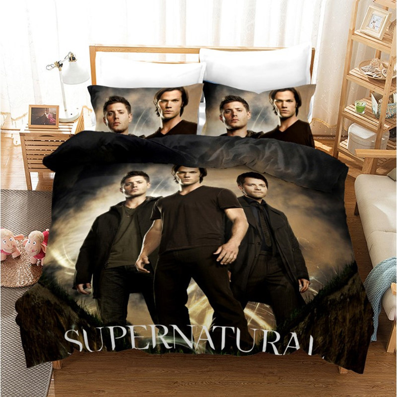 Supernatural Cosplay Costume Bedding Set Duvet Cover Cotton Pillow Cases Twin Full King Queen Size Kids Bedclothes Bed Cover